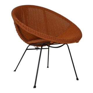 Mid-Century Modern Asian Wicker Rattan Chair For Sale