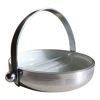 Vintage Chase Deco Style Chromed Divided Dish With Handle For Sale
