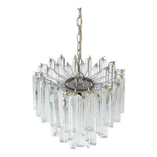 Vintage Mid Century Venini Glass Prisms Camer Light Fixture For Sale