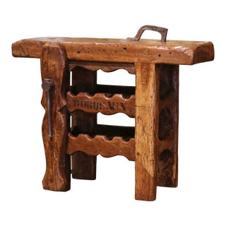 19th Century French Oak Carpenter Press Table With Four-Bottle Storage Rack For Sale