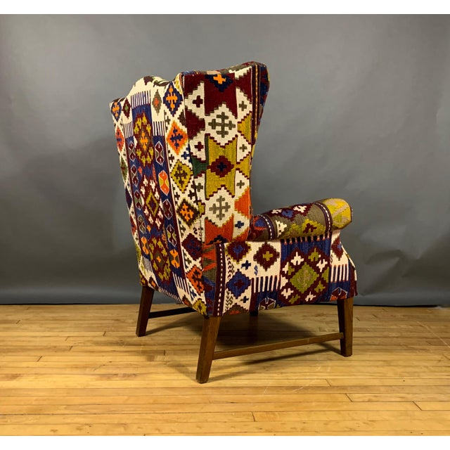 1940s Danish Wingchair, Semi-Antique Turkish Kilim Cover For Sale In New York - Image 6 of 12