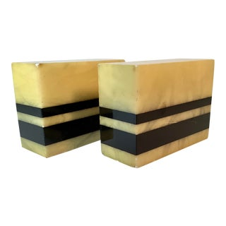 Art Deco Alabaster Marble Block Book Ends With Black Stripe - a Pair For Sale