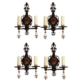 1910s Antique Cast Brass Electric Sconces - Set of 4 For Sale