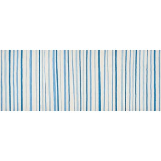 Schumacher Patterson Flynn Martin Wavy Stripe Hand-Woven Wool Striped Rug - 3' X 8' For Sale