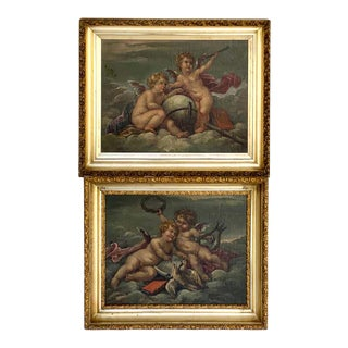 19th Century Putti Allegory Paintings in the Style of Boucher, Near Pair For Sale