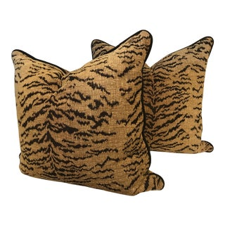 "Boho Chic Schumacher Animal Print Down Filled Pillows, a Pair - 22"" For Sale"
