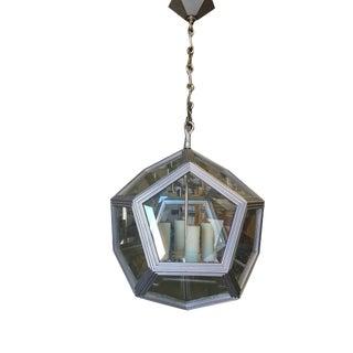 Custom Art Deco Inspired 4 Light Pentagon Window Chandelier For Sale