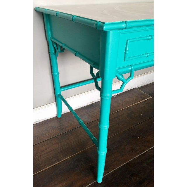 1970s Thomasville Chinoiserie Faux Bamboo Desk For Sale - Image 5 of 9