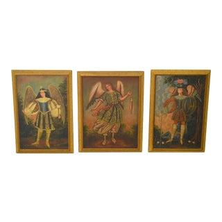 Italian Renaissance Style Archangels Framed Oil Paintings - Set of 3