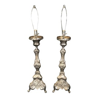 19th Century French Silvered Bronze Altar Stick Lamps - a Pair For Sale