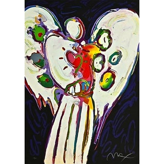 Peter Max Angel with Heart on Black 1996 For Sale