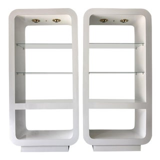 Pair White Mica Lighted Etageres/1970's