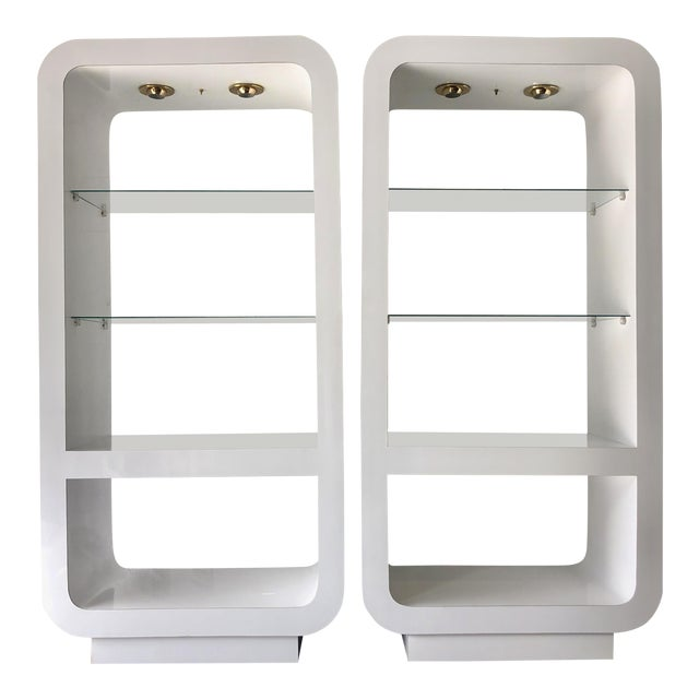 Pair White Mica Lighted Etageres/1970's For Sale