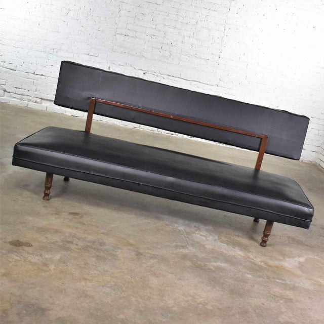 Black Vintage Mid Century Modern Black Vinyl Faux Leather Convertible Sofa by Universal of High Point For Sale - Image 8 of 13