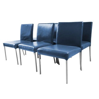 Six Modern Leather Armless Side Dining Chairs For Sale