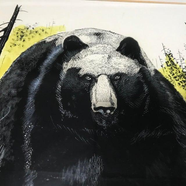 Vintage Ink & Watercolor Black Bear Painting - Image 3 of 10