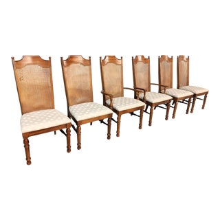Vintage Broyhill Cane Back Dining Chairs- Set of 6 For Sale