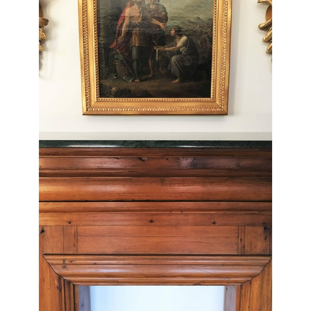 Early 20th Century Antique Mahogany Fireplace Mantel With Green Marble Top For Sale - Image 5 of 9
