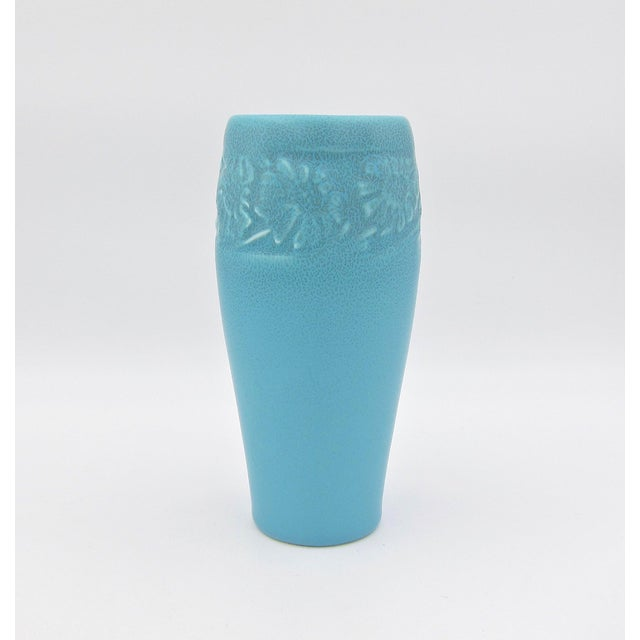 A vintage Rookwood Pottery Arts & Crafts production vase with a blue matte glaze made in 1930. This elegant American...