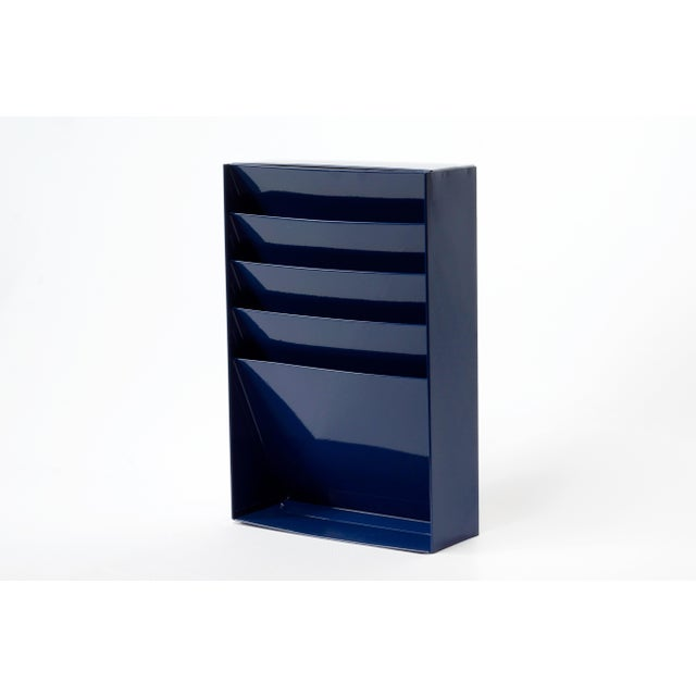 1960s Retro Steel File Holder/ Magazine Rack/ Mail Organizer, Refinished in Midnight Blue For Sale In Los Angeles - Image 6 of 6