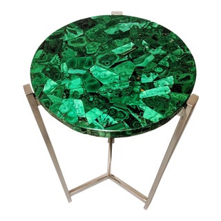 Art Deco Malachite & Chrome Side Table For Sale