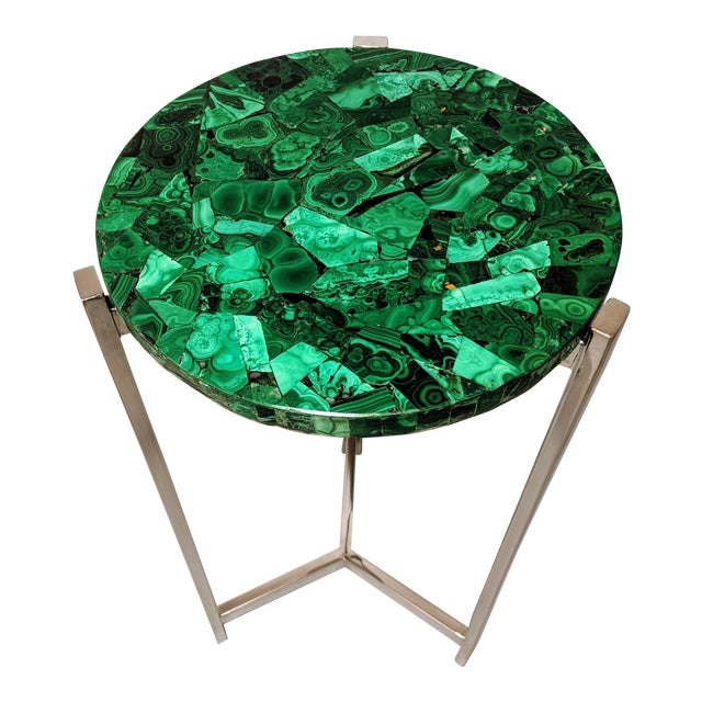 Art Deco Malachite & Chrome Side Table For Sale