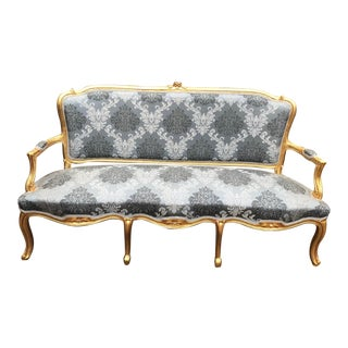 Vintage 1940's Gray Cotton Silk Reupholstered French Louis XV Style Sofa For Sale