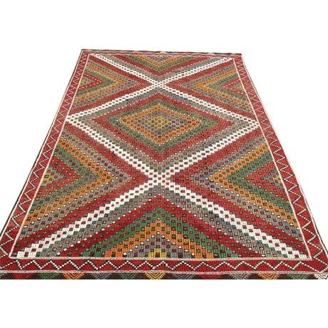 Vintage Turkish Kilim Rug - 6′5″ × 9′10″ For Sale