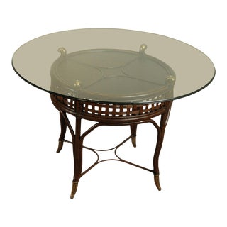 """Quality Rattan 48"""" Round Glass Top Dining Table For Sale"""