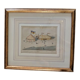 """1970s Vintage Ali Clift """"Shadow of the Big Top"""" Framed Drawing For Sale"""