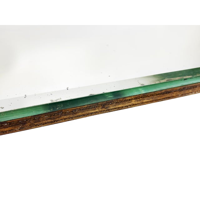 1920s Vintage Art Deco Frameless Hanging Beveled Mirror With Chrome Detail For Sale - Image 5 of 6