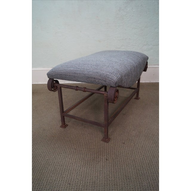 Rustic Scrolled Iron Frame Window Bench - Image 6 of 10