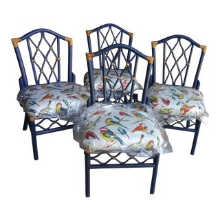 Artisan Painted Chinoiserie Vintage Club Dining Chairs - Set of 4 For Sale