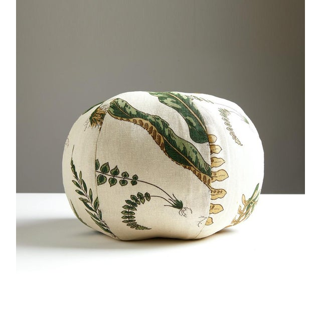 Elsie de Wolfe sphere pillow in printed linen. Feather down insert included, hidden zipper closure.
