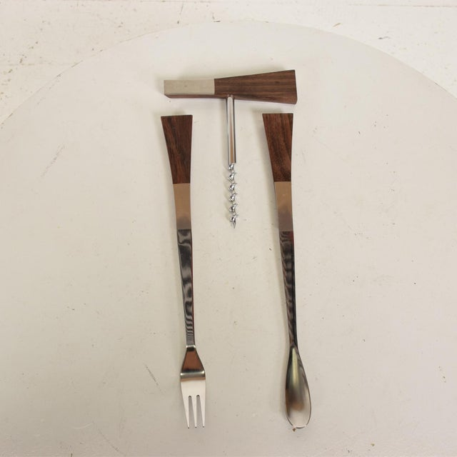 Mid-Century Modern Rosewood Stainless Steel Bar Set Accessories - 3 Pc. Set For Sale - Image 4 of 11