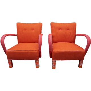 Jindrich Halabala Orange Brno Club Chairs - A Pair For Sale