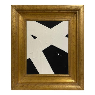 Ron Giusti Mini Abstract Black Cream Painting, Framed For Sale
