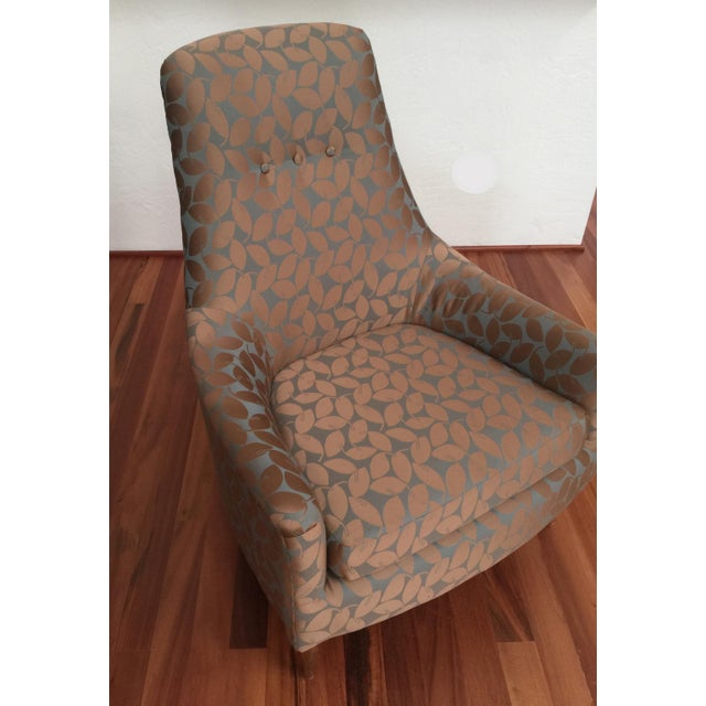 Mid-Century Modern Silk Leaf Upholstered Chair For Sale In Seattle - Image 6 of 12