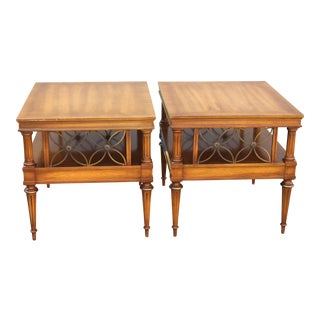 Mid Century Era Neoclassical Style Detailed End Tables - a Pair For Sale