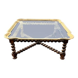 Baker Barley Twist Brass and Glass Tray Cocktail Table For Sale