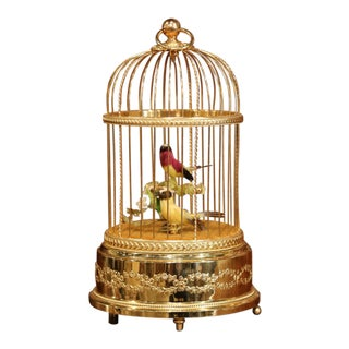 Late 20th Century Swiss Reuge Automaton Brass Cage With Two Singing Birds For Sale