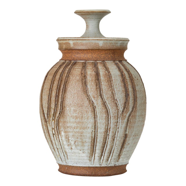 California Modern Incised Studio Pottery Vessel With Lid by Don Jennings For Sale