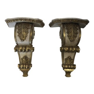 1990s Traditional Carved Gold and Cream Corbels Wall Brackets - a Pair