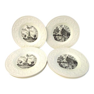 English Wedgwood Transferware Dinner Plates - Set of 6 For Sale