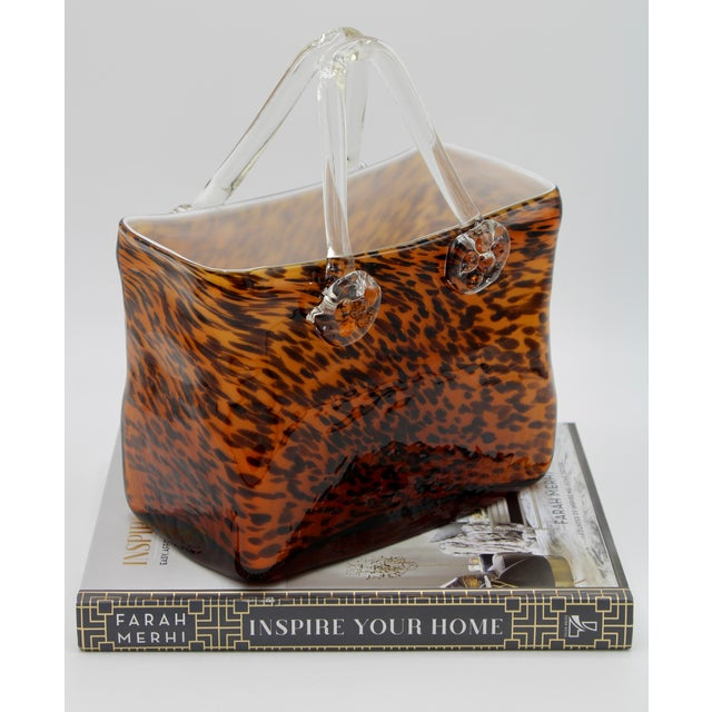 Brown Mid Century Modern Tortoise Shell Glass Purse Cachepot / Vase For Sale - Image 8 of 9