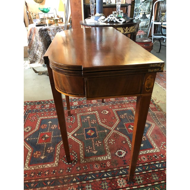 Wood 1780 Hepplewhite Inlayed Mahogany Game Table For Sale - Image 7 of 13