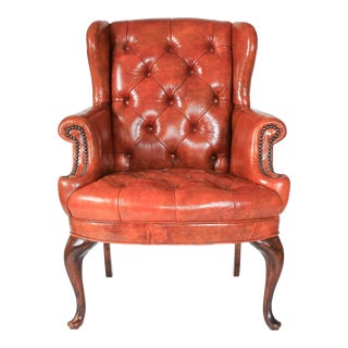 Petite Leather Tufted Wingback Chair