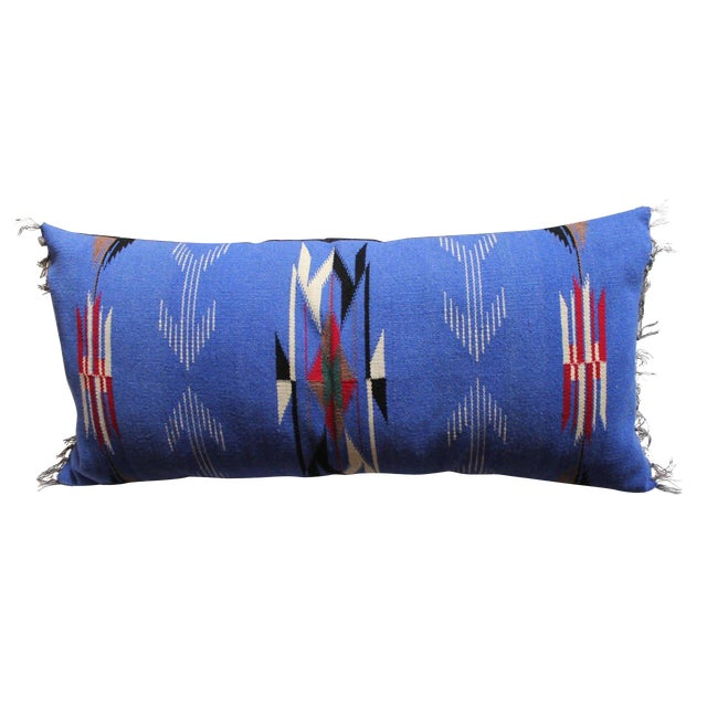 Mexican-American, Chimayo-Indian Weaving Bolster Pillow For Sale