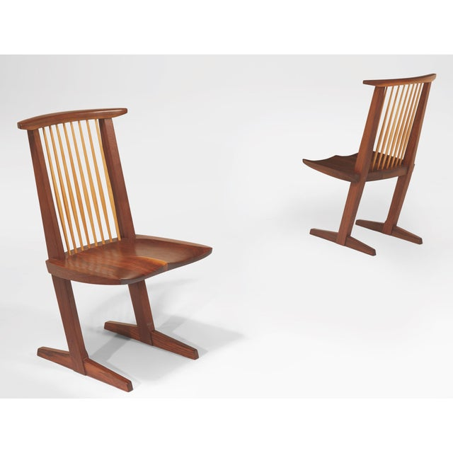 Arts & Crafts Vintage George Nakashima, Rare Sculptural Conoid Chairs- A Pair For Sale - Image 3 of 11