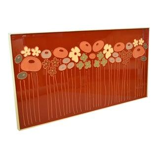 Mid-Century Modern Framed Rectangular Brown & Tan Enamel Flower Wall Art For Sale